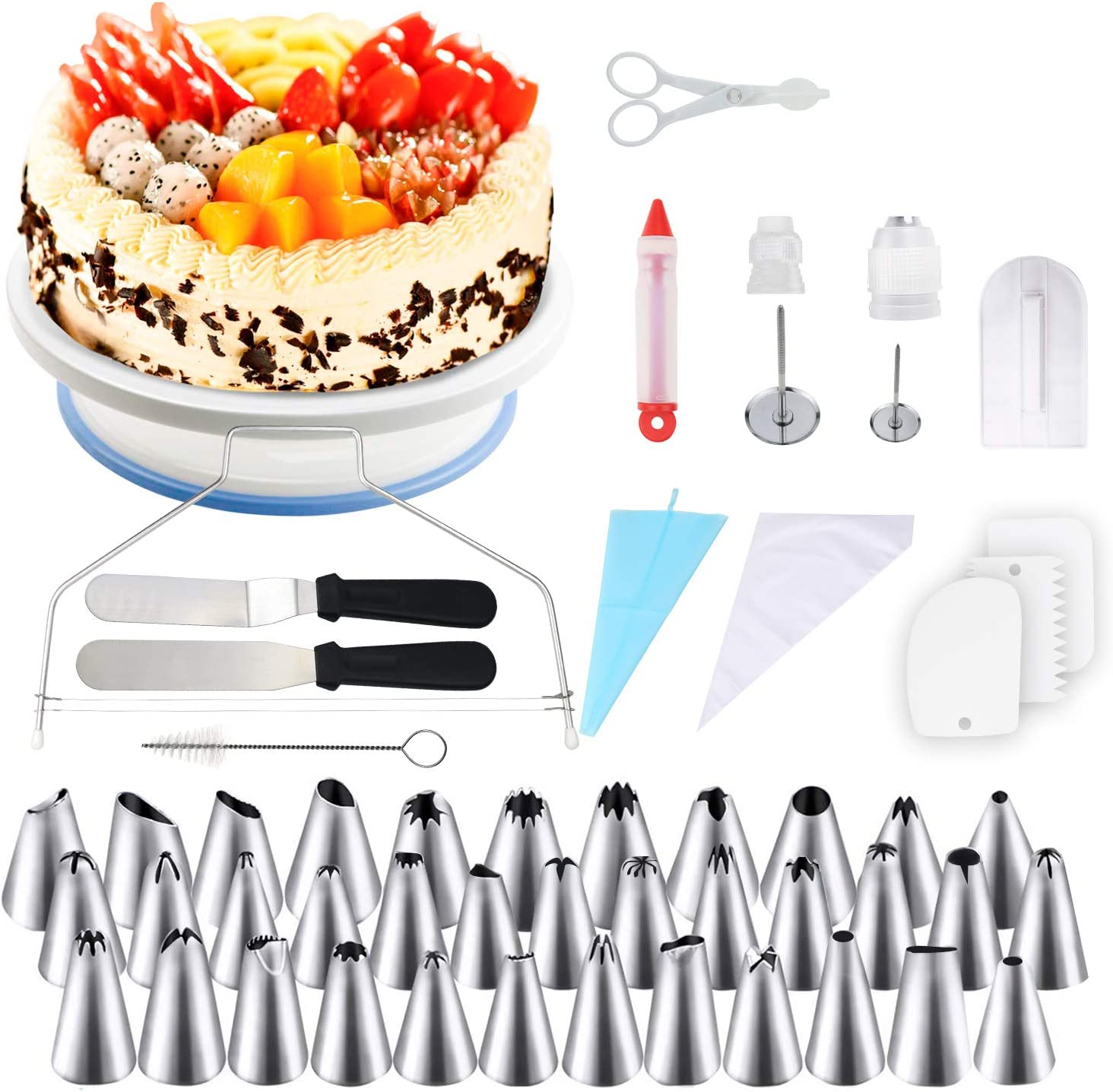 164tlg DIY Kuchen Drehteller Tortenplatte Drehbar Tortenständer Spritztüllen Set