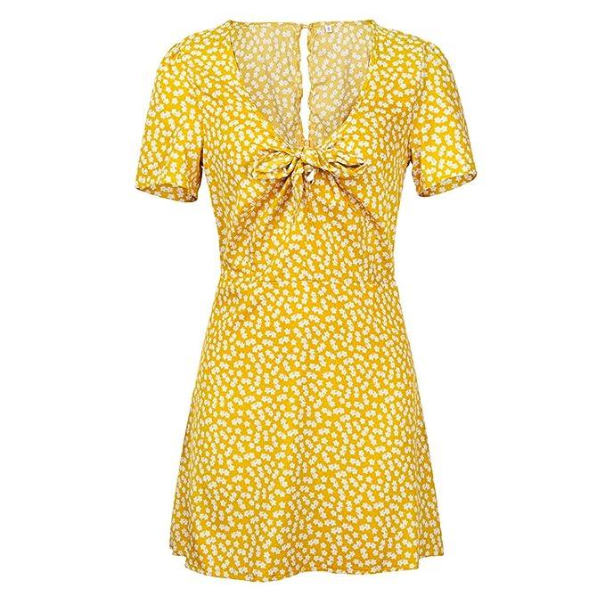 Vestidos Estampados,Ropa de Mujer Manga Corta Cuello En V Punto de Onda Vestidos Verano Vestidos de Moda,Hanomes,Slim Fit Mini Vestido Vestidos Fiesta ...
