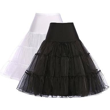 65b0a7c30499d GRACE KARIN School Student Pinup Petticoat Under Skirts Slip (S,Black+White,