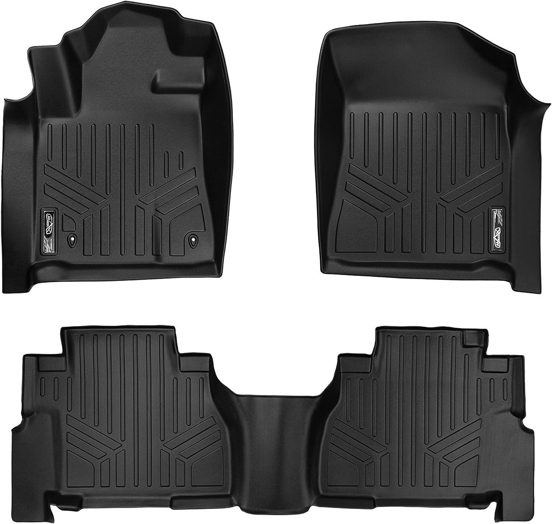 MAXLINER Floor Mats 2 Row Liner Set Black for 2008-2011 Toyota Sequoia with Bench Seats