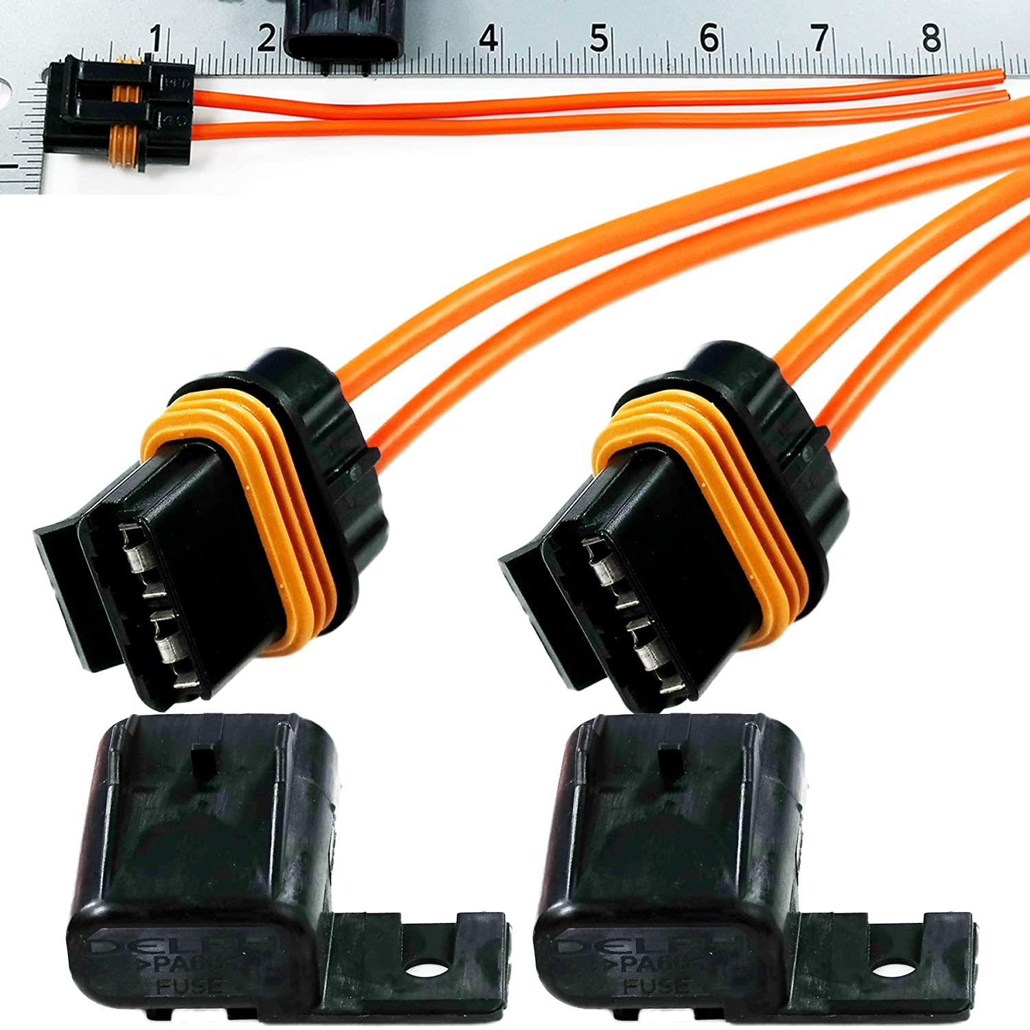 Delphi Assembly 8 Wire ATO ATOF ATC Fuse Holder 10,12 GA 30 Amps Sealed Wire Kit 2 Completed Pack