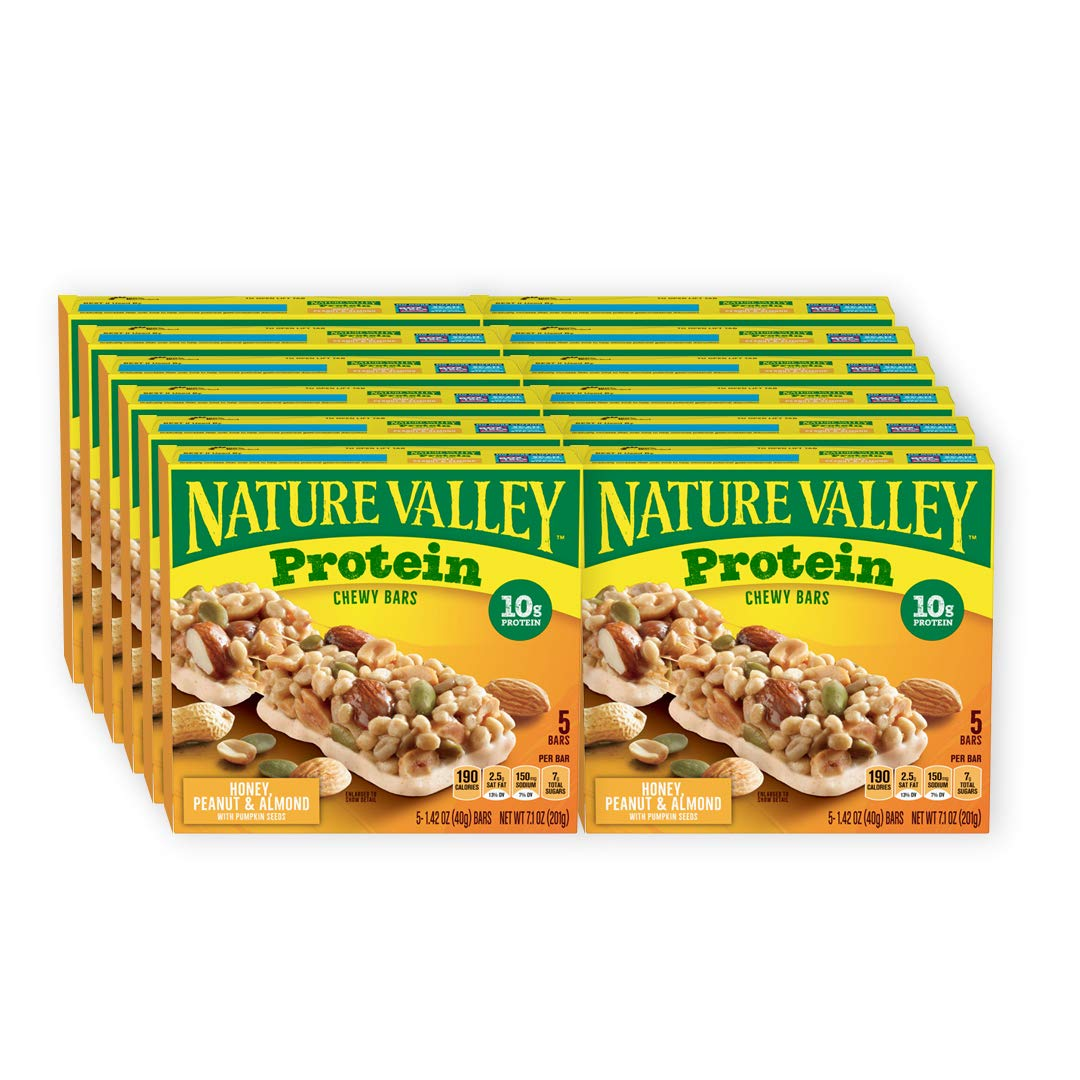 Nature Valley Chewy Protein Bar, Honey Peanut Almond, 5 ct, 7.1 oz (Pack of 12)