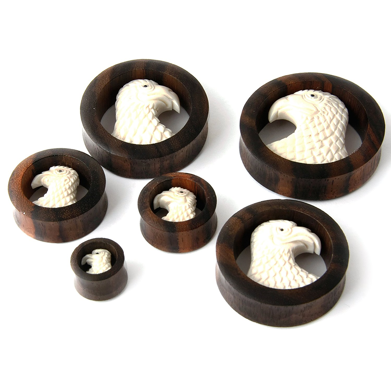 JewelryVolt Pair Double Flared Dark Brown Sawo Wood Plugs with Hand Carved Bone Eagle head Bald Eagle Ear Plug Gauges Jewelry Volt