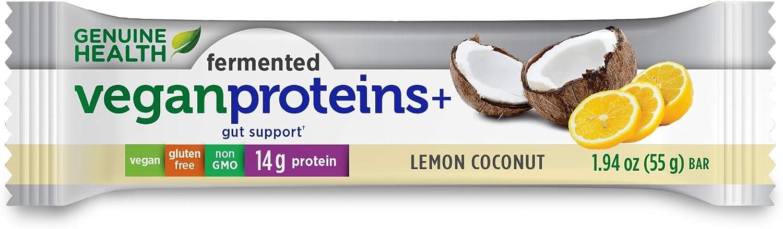 Genuine Health Fermented Vegan Proteins+ Bar, Lemon Coconut, 14g Protein, Gluten Free, 12 Count