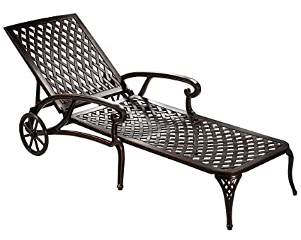 HOMEFUN Chaise Lounge Outdoor, Aluminum Wheels Lounges Chair Adjustable  Reclining Patio Furniture Set (Antique