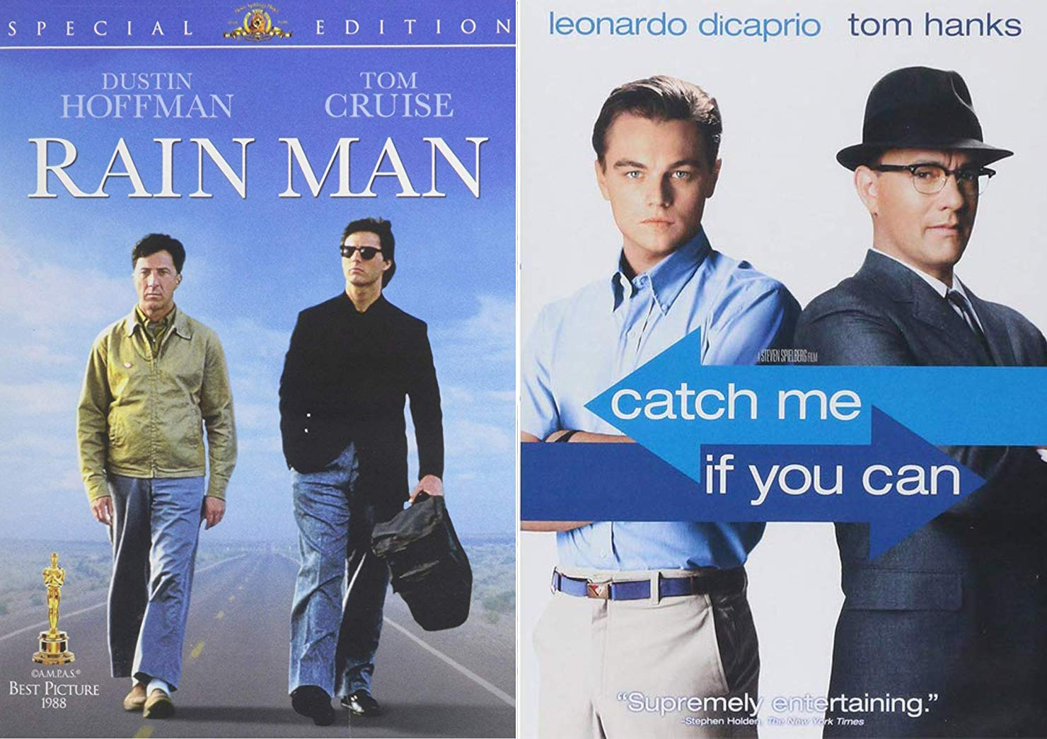 2 Greats Dvd Catch Me If You Can Tom Hanks Leonardo Dicaprio Rain Man Tom Cruise Dustin Hoffman Double Feature Tom Hanks Leonardo Dicaprio Tom Cruise Steven Spielberg Robert Zemeckis