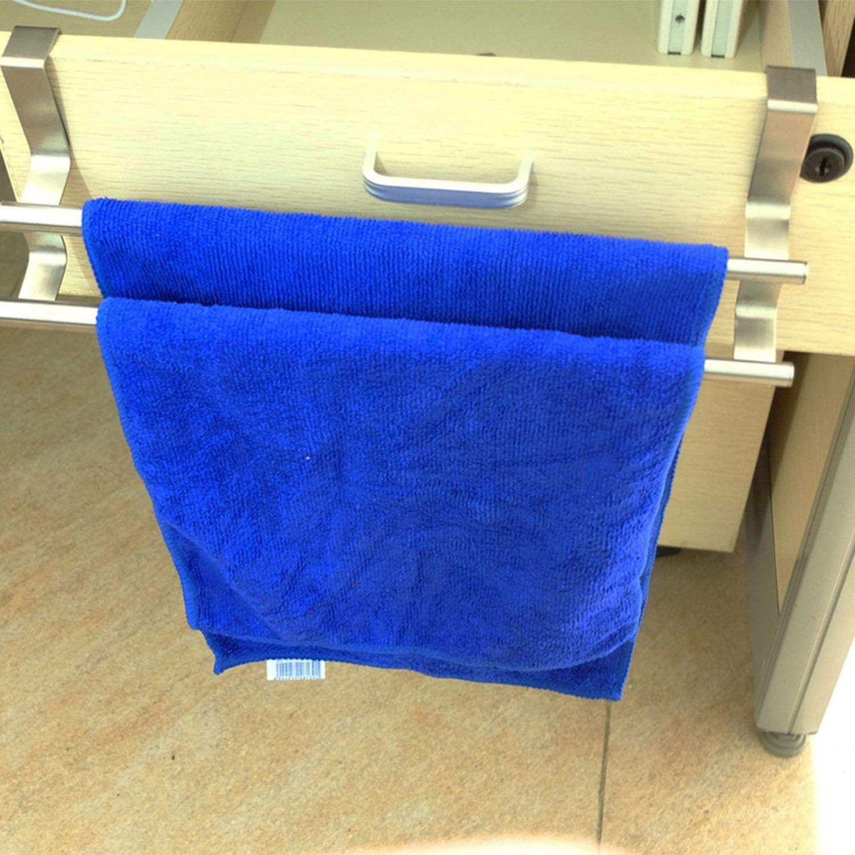 FairytaleMM Bathroom Towel Bar Towel Rack Double Layer Over Door Cupboard Hanger Hotel Bath Stainless Steel Towel Holder-Silver