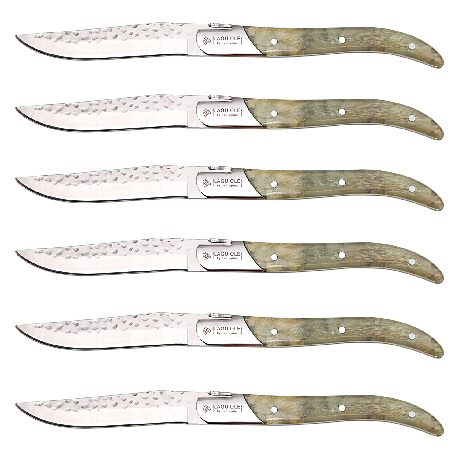 [Set of 6] Steak Knives,Hailingshan Stainless Steel Straight Blade Boxed Laguiole Sharp Top Grade Cutlery Kitchen Table Dinner Knives Anti-rust Dishwasher Safe Mirror Polished Flatware-Horn Handle