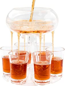 Shot Dispenser,Lareina Shot Buddy,6 Shot Acrylic Dispenser and Holder,for Filling Liquids, Cocktail, Drinks and Beverages for Drinking Games, Parties and Bar,Food Grade Material-Transparent