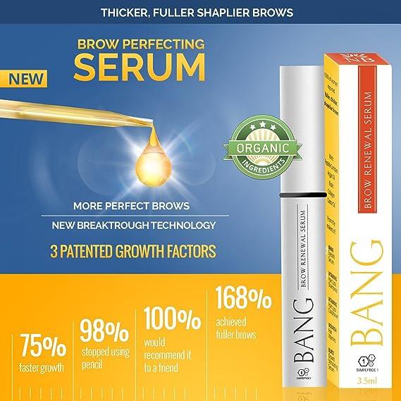 Bang Sérum para cejas – Cejas más llenas en 2 – 4 semanas con péptidos + aceite de argán y aceite de ricino – De los expertos en crecimiento del cabello de ...