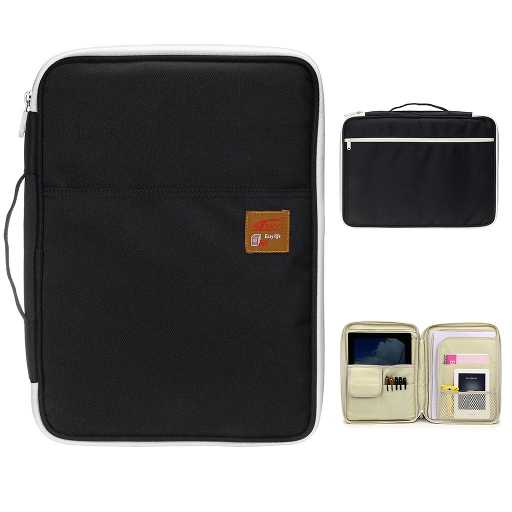 BTSKY Multi-functional A4 Document Bags Portfolio Organizer--Waterproof Travel Pouch Zippered Case for Ipads, Notebooks, Pens, Documents (Black)