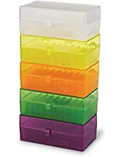 Heathrow Scientific 50-Well Hinged Storage Box, Assorted Colors Pack 5