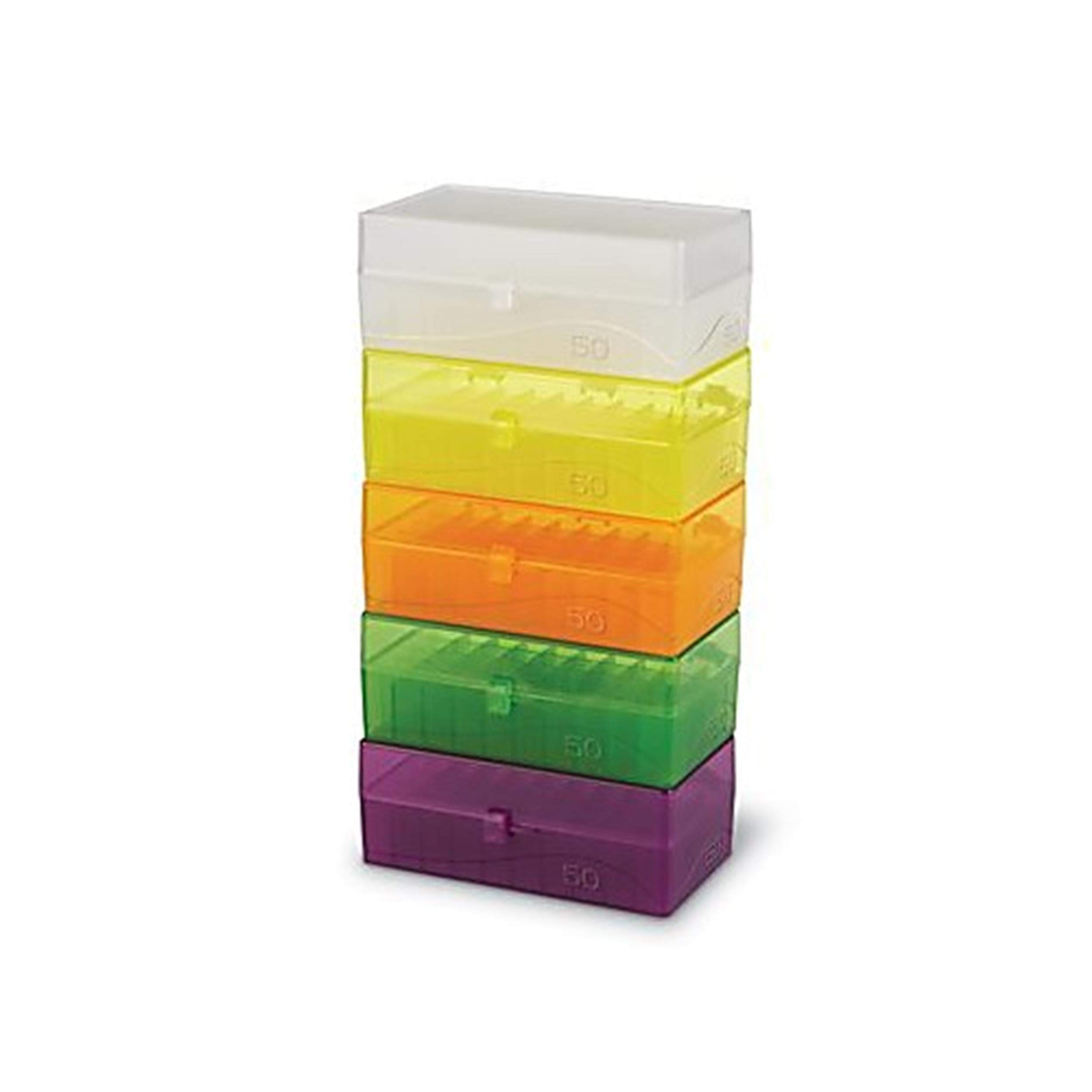 Heathrow Scientific HS120033 50 Well Microtube Storage Box, Cryogenic Box, Tube Storage, 1.5mL/2.0mL Tubes,Polypropylene, 5 Assorted Colors, (5/pk) by Heathrow Scientific