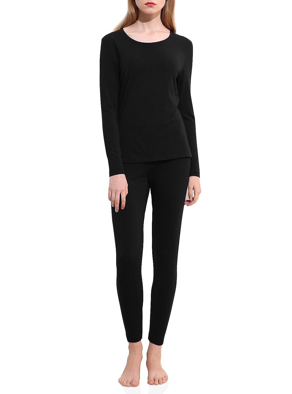 David Archy Women's Modal Stretch Seamless Top & Bottom Thermal Underwear Set CN-Smashing