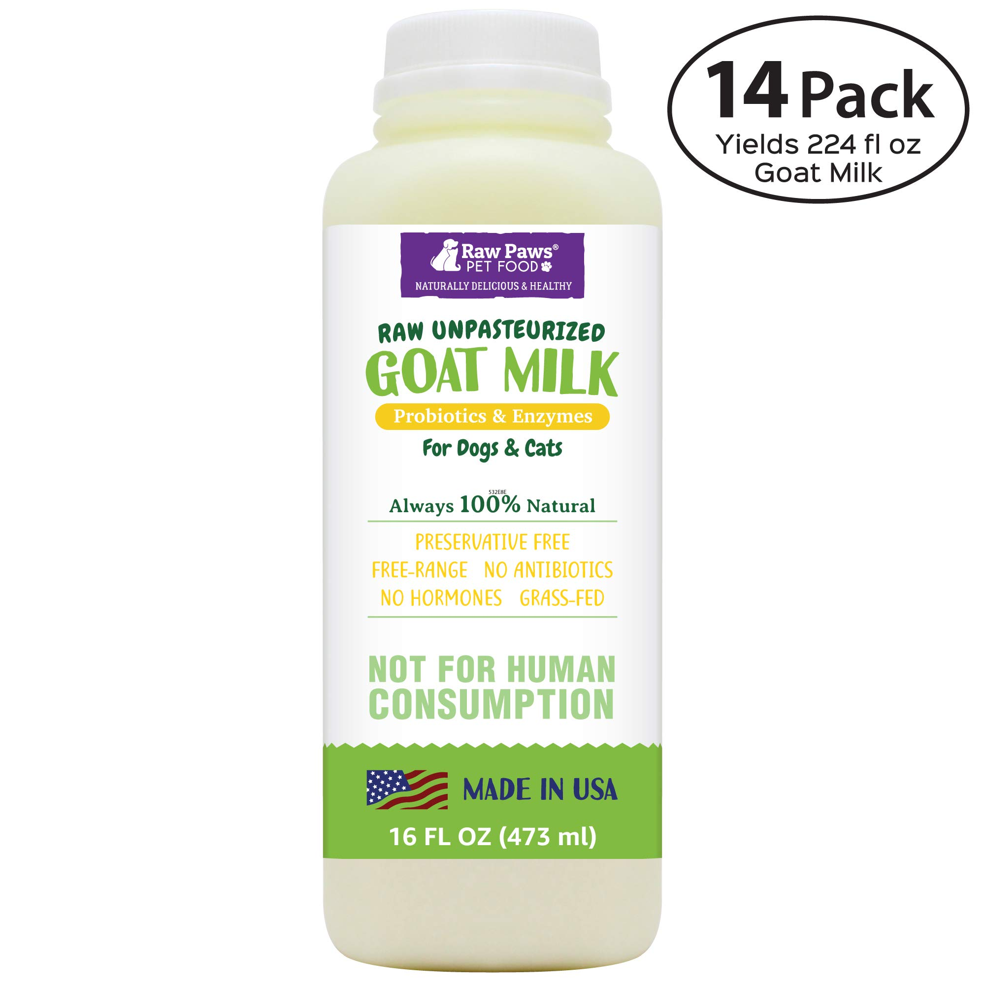 Raw Paws Pet Frozen Raw Goat Milk for Dogs & Cats, 16-oz/14 Pack - Pet Milk Replacer for Puppies & Kittens - Goats Milk Supplement for Dogs - Sensitive Stomach Dog Food Topper, Bland Dog Food Enhancer