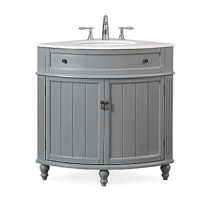 24 Thomasville Gray Modern Slim Corner Bathroom Sink Vanity Zk