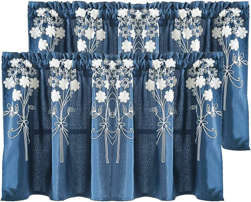 Molaxhome White Embroidered Valance for Sliding Glass Door, Set of 2, Rod Pocket for Living Room Kitchen Cafe Curtain (Navy Blue, 51 x 16 inch)