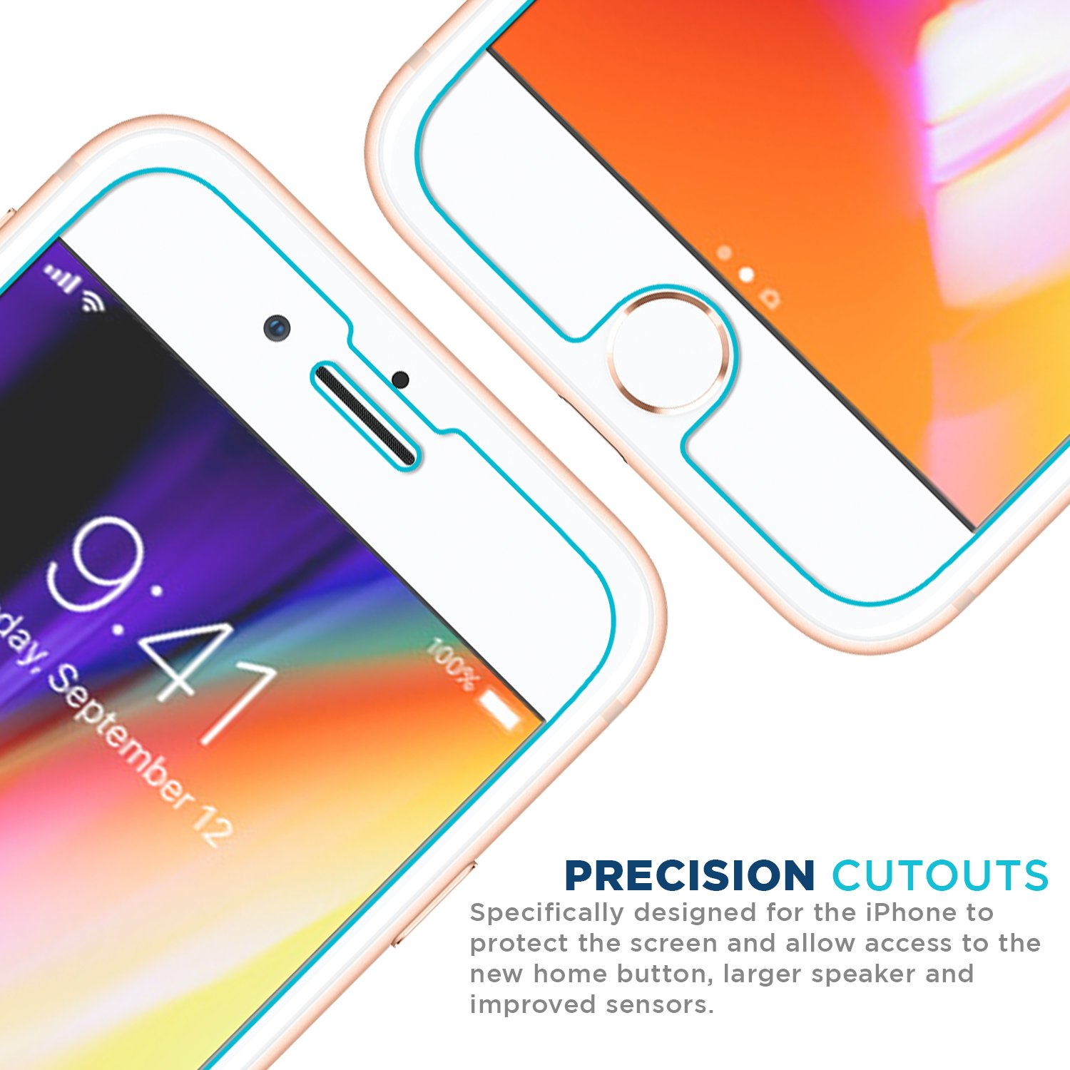 iPhone 7 99.99/% Clarity and 3D Touch Accuracy Tech Armor Apple iPhone 6//6S 2-Pack Ballistic Glass Screen Protector iPhone 8 4.7
