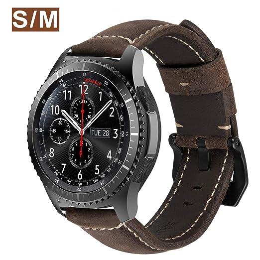 MroTech Correa Gear s3 Frontier Piel Galaxy Watch 46mm Correas de Reloj de Cuero 22mm Liberación Rápida Pulsera Compatible para Samsung S3/Huawei ...