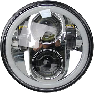Super Glide Dyna Chrome SKTYANTS 5.75 inch Led headlight 5 3//4 halo Ring white drl for Harley Sportsters Touring