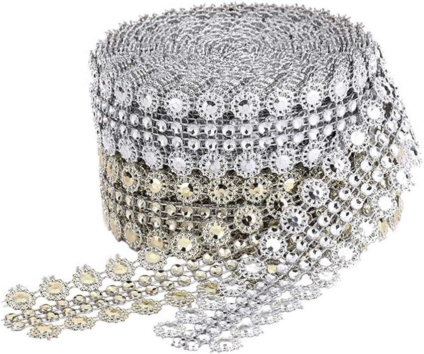 Bouquet Vasen Hochzeit und Party Dekoration f/ür Bling Bridal Knowing 2 Rollen Strassband Acrylic Rhinestone Diamant Band Dekoband Gold Silber Doppel Drainage Bohrer Rahmen