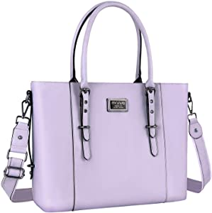 MOSISO PU Leather Laptop Tote Bag for Women (Up to 15.6 inch), Light Purple