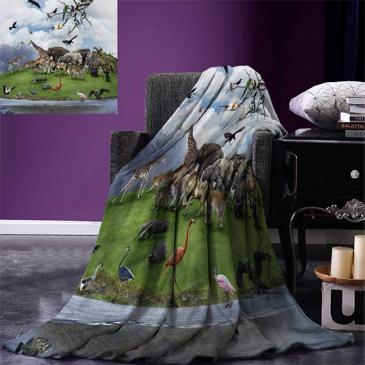 smallbeefly Africa Lightweight Blanket Tropic Animal Collage in The Valley Lion Parrot Swans Elephants Flamingos Digital Printing Blanket 60''x36'' Multicolor