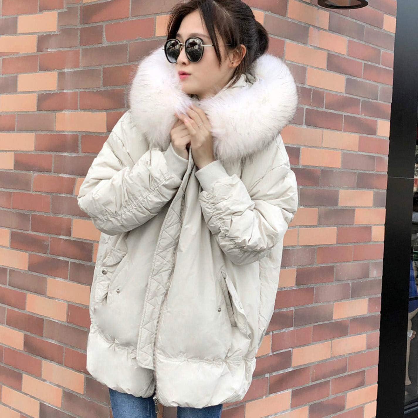 Women Winter Fur Jacket Warm Duck Down Hooded Windproof Warm Loose Coat