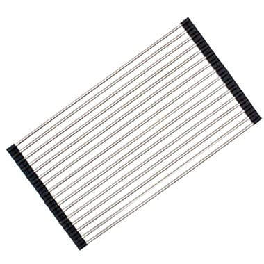 Roll-up Dish Drying Rack Foldable Stainless Steel Over Sink Rack Kitchen Drainer Rack (20.5''x11.2'')