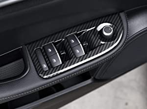 for Alfa Romeo Giulia 2017 2018, Carbon Fiber Style ABS Car Window Lift Switch Button Frame Cover Trim