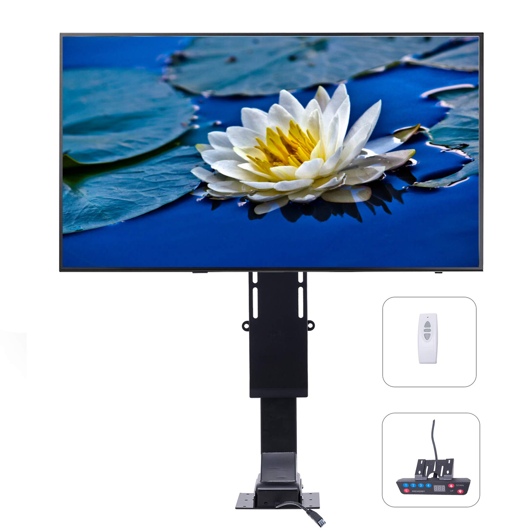 """CO-Z Motorized TV Mount Lift with Remote Control for Large Screen 32"""" ~ 72"""", Height Adjustable up to 72'', Weight Capacity 154 lb. Fast Lift Speed 1'' per Second"""