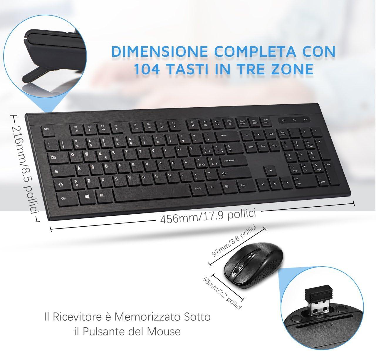 2,4 GHz Wireless Combo toetsenbord en muis, Wireless Designo