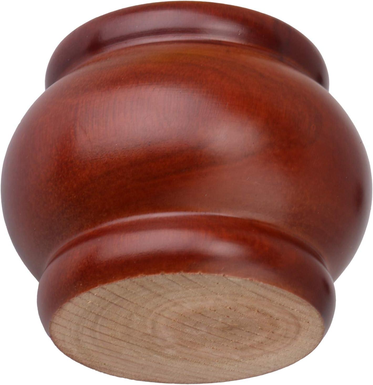 4pcs 78mmx62mm Eucalyptus Wood Round Bun Furniture Feet (red Brown)