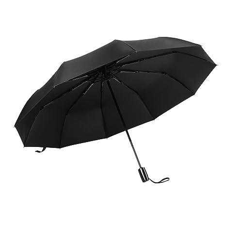 Vacnite Paraguas Plegable Automático,60Mph Reforzar Tipo Paraguas a Prueba de Viento, 10 Varillas