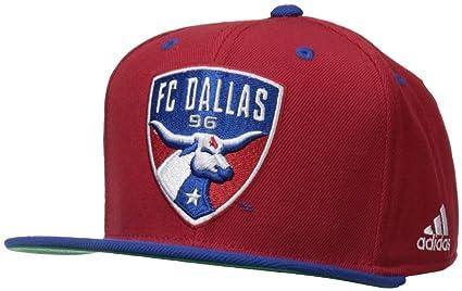 new arrival 6a8d5 ab88b MLS FC Dallas Men s Team Logo Two Tone Flat Brim Snapback Hat, One Size,