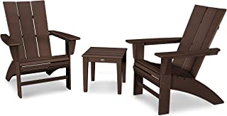 product image for POLYWOOD Modern 3-Piece Curveback Adirondack Chair Set with End Table