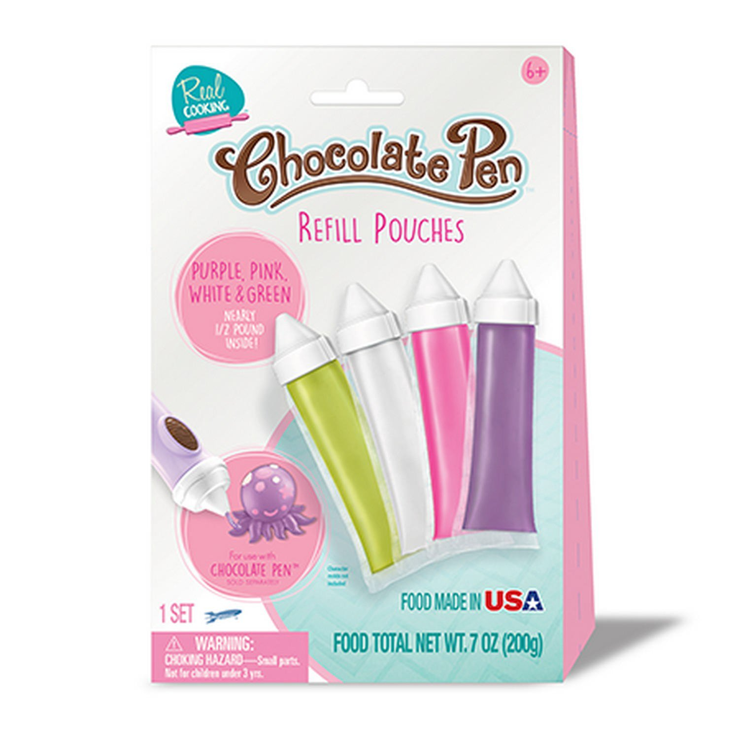 Chocolate Pen Refill Pouches -- Purple, Pink, White & Green Sky Rocket Toys