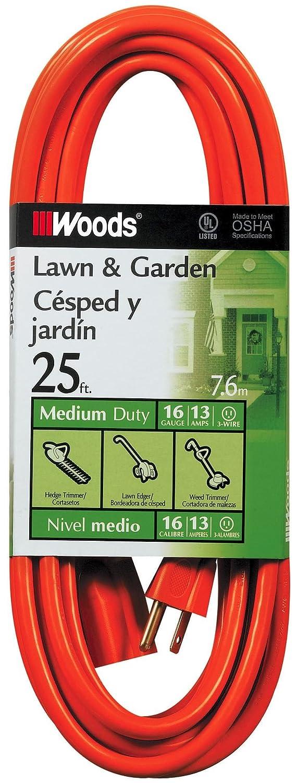 Woods 0267 16/3 SJTW General Purpose Extension Cord, Orange, 25-Foot