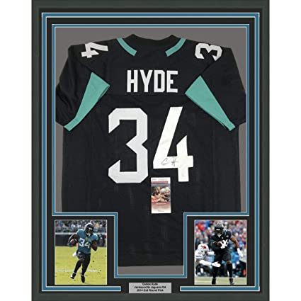 aa514b07f63 Framed Autographed Signed Carlos Hyde 33x42 Jacksonville Black ...