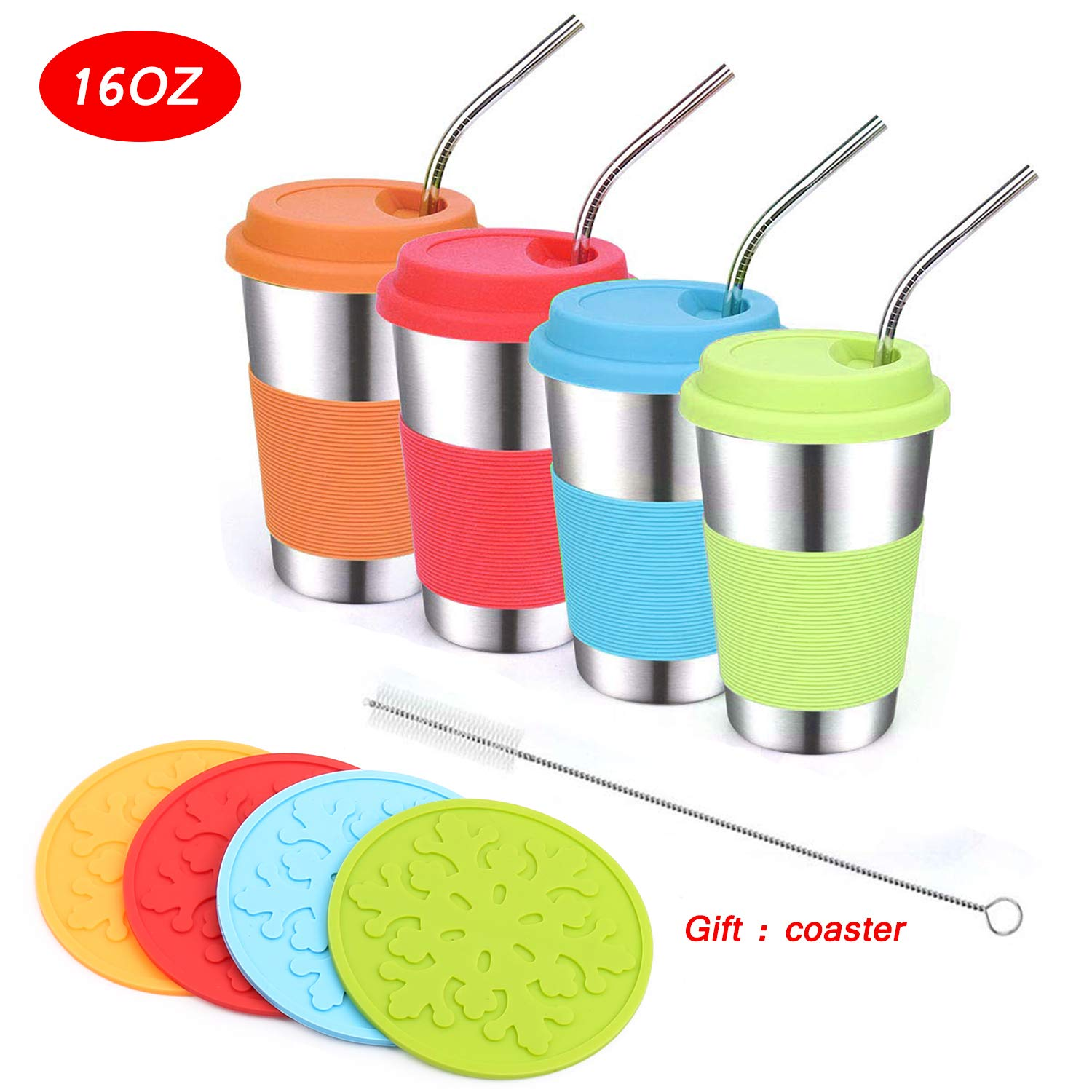 Stainless Steel Kids Cups with Lids and Straws,Vermida 4 Pack 16oz Metal Kids Straw Cups with Lids,Spill Proof Sippy Cups with Straws,Unbreakable Drinking Cups for Kids and Toddlers