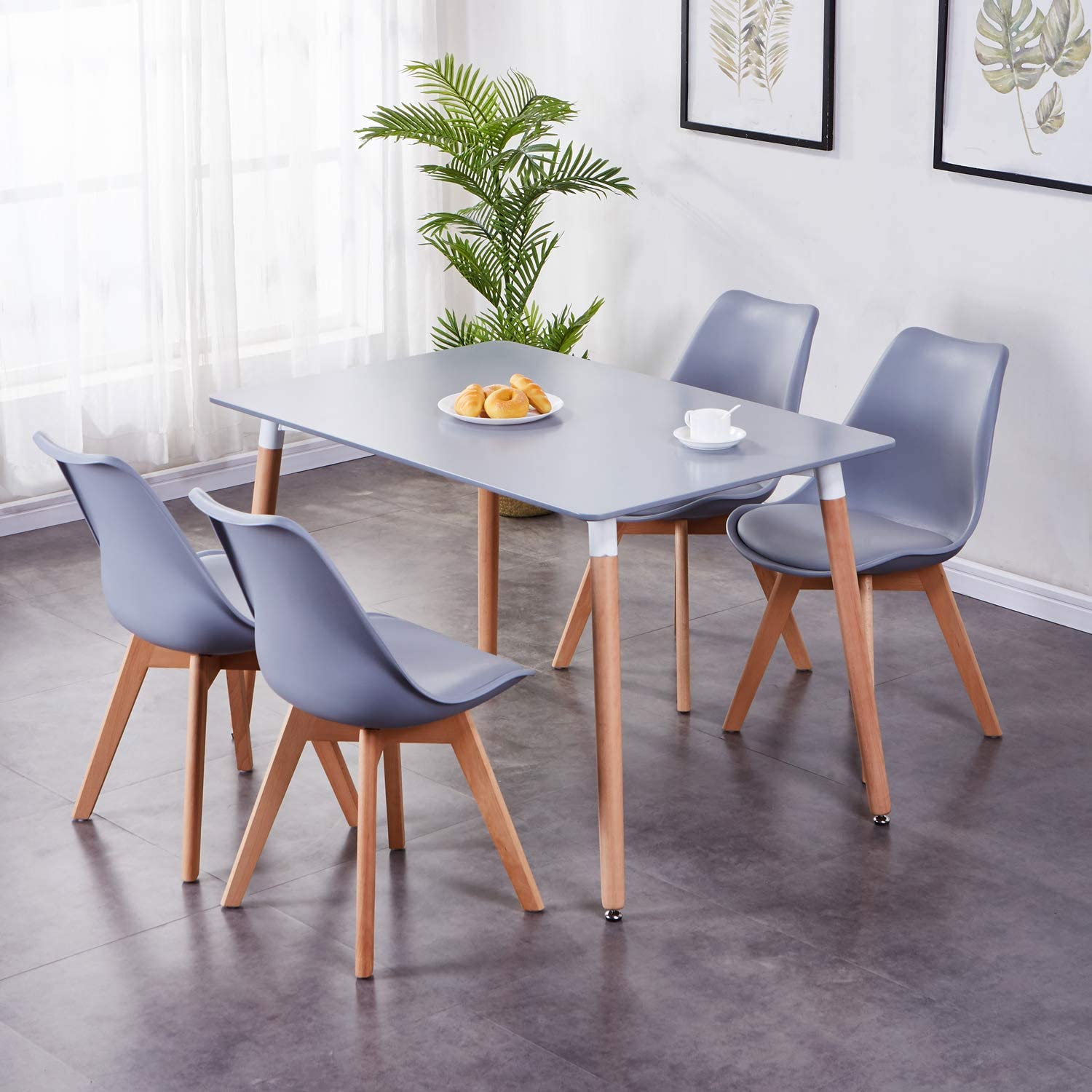 GOLDFAN Rectangle Dining Table and 10 Chairs Modern Kitchen Table and  Cushioned Tulip Chairs Dining Room Set Furniture,Grey