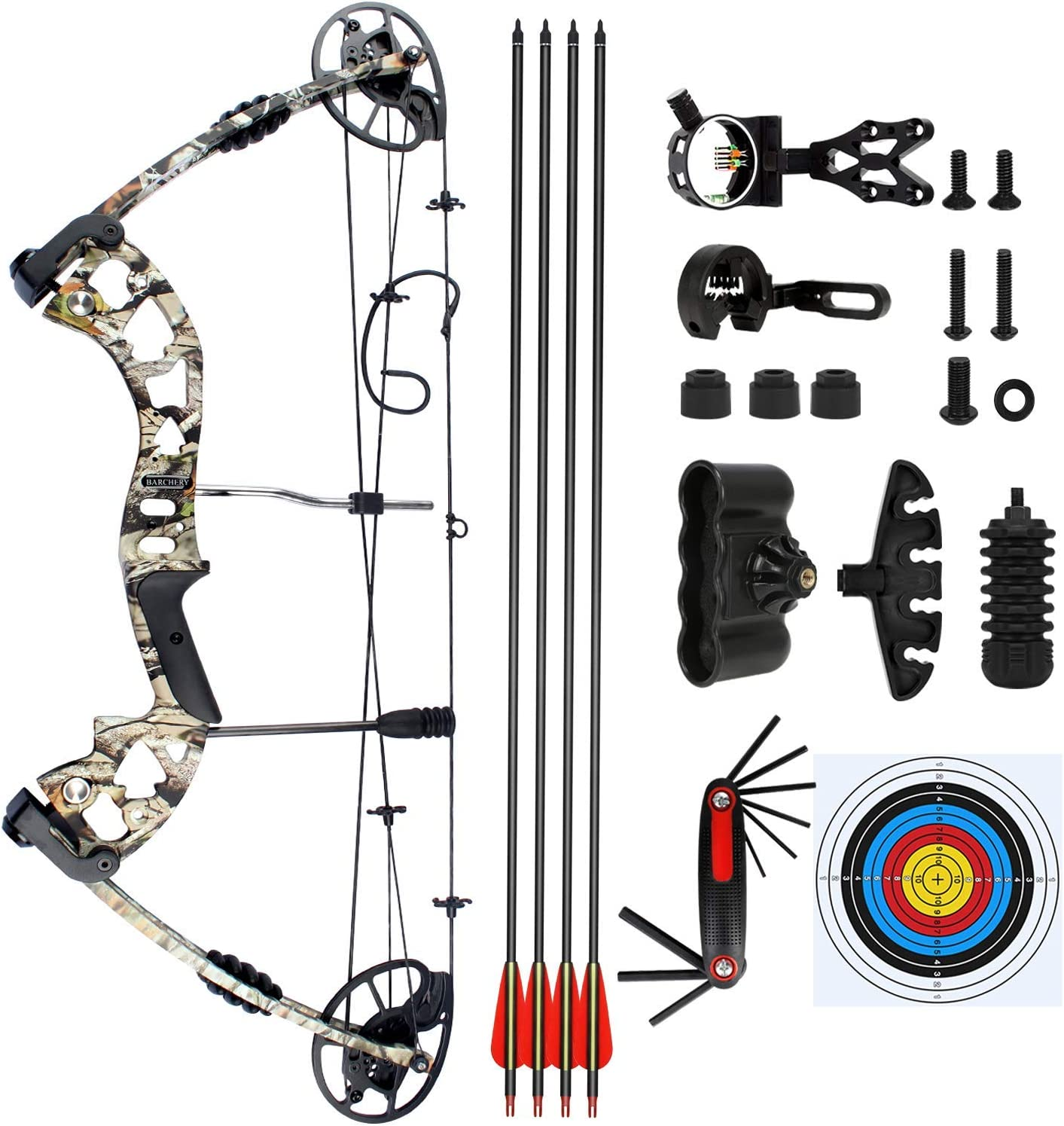 BARCHERY Compound Hunting Bow Kit Archery Hunting Bow Package for Adults with Carbon Arrows