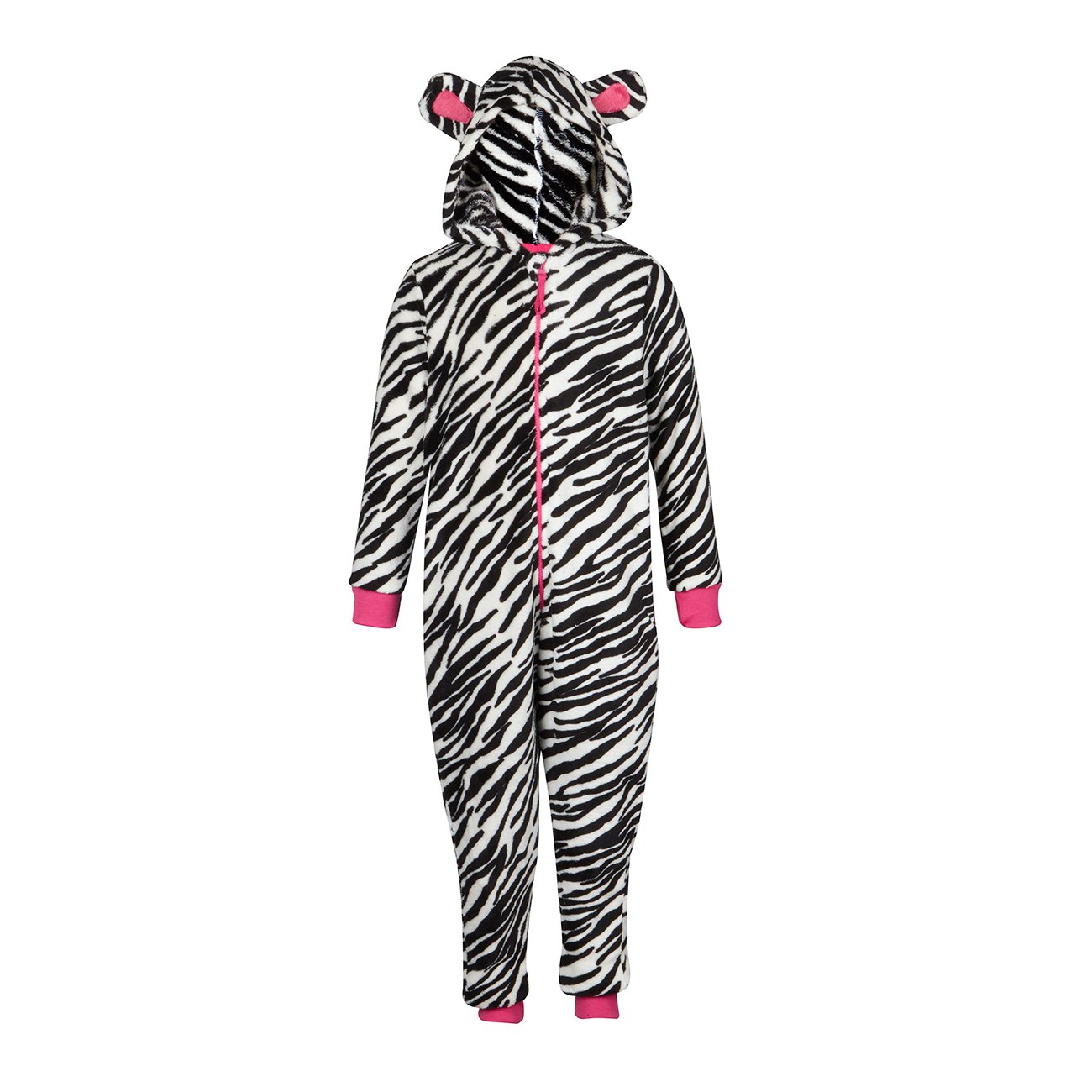 New Children/'s Zebra Leopard Print Hooded All In One Onezee Jumpsuit PJ Pajamas