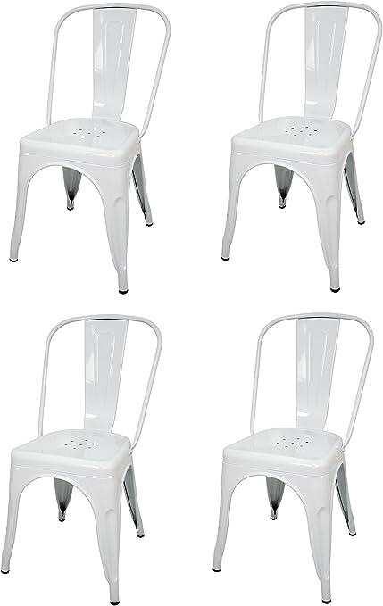 La Silla Española - Pack 4 Sillas estilo Tolix con respaldo. Color Blanco. Medidas 85x54x45,5: Amazon.es: Hogar