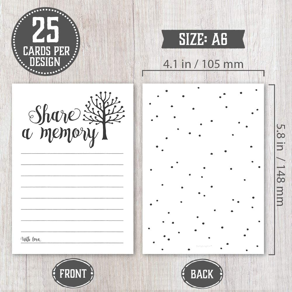 Bridal Shower 25 Cards Each 2 Designs Going Away Party Anniversary Birthday Wedding Graduation Perfect for Celebration of Life Memorial Retirement 50 Share A Memory Cards Funeral