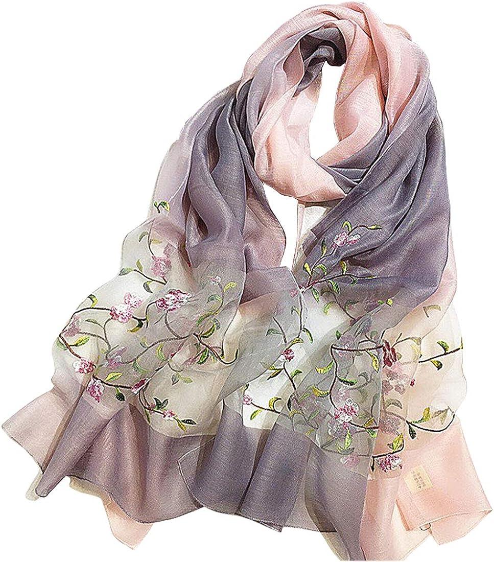 Alysee Women Lightweight Silk&Wool Mixed Gradient Embroidered Scarf Headwrap Shawl