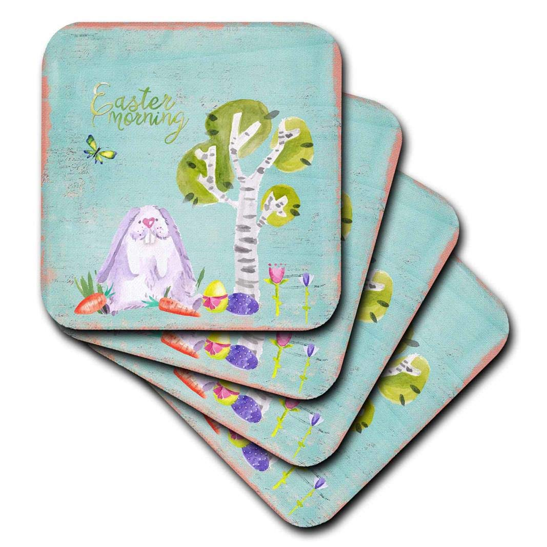 Multicolor 3D Rose Typography Floral Easter Season Spring Vintage Shabby-Chic Bunny Soft Coasters