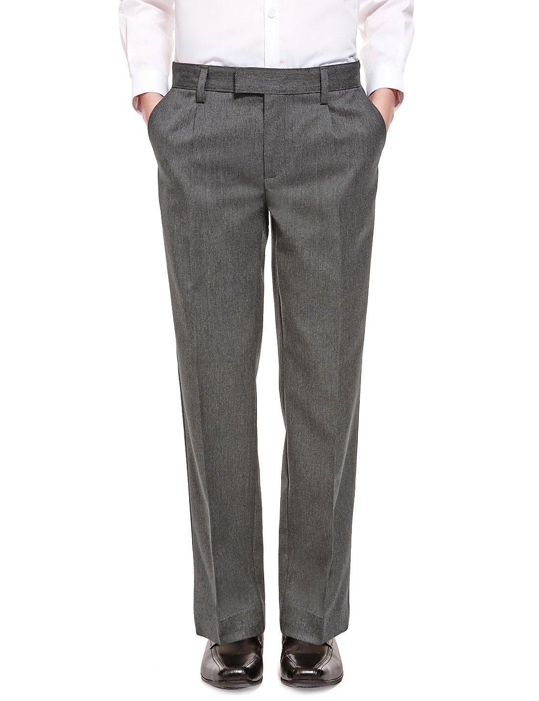 EX M/&S Boys Regular Fit Black Grey Charcoal Navy School Trousers Elastic Adjustable Waist 2-16 Yrs