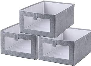 Tosoda Juego de 3 Organizadores de Cajón Plegables Cajas de Almacenaje de Ropa Contenedores Grandes 40 x 28 x 17cm para Alamacenamiento de Camisas Pantalones Juguetes Libros: Amazon.es: Hogar