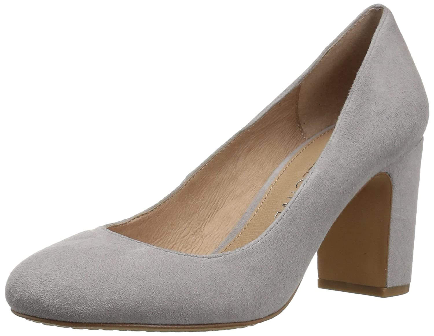206 Collective Women's Coyle Round Toe Block Heel High Pump B0789FHVW9 9.5 B(M) US|Gray Suede